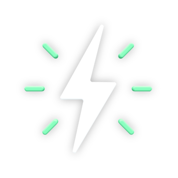 """An icon to visually showcase the feature """"Compatible Hardware"""". A white lightning bolt shape with green lines coming out of it, to represent technology."""