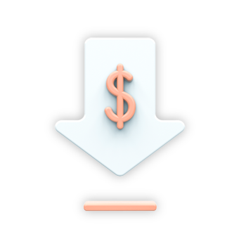 """An icon to visually showcase the feature """"Cost Effective"""". It's a white arrow pointing down with an orange dollar sign."""