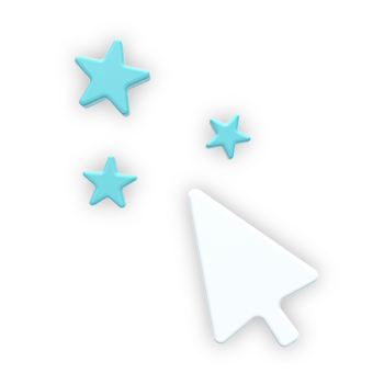 """An icon to visually showcase the feature """"Intuitive Interface"""". It's a white mouse pointer with three blue stars."""