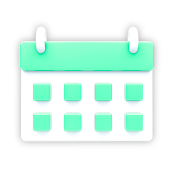 An icon to showcase Scheduling Ahead of Time. A green and white calendar.