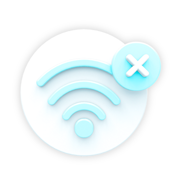 """An icon to visually showcase the feature """"Works Offline"""". This feature icon is white and blue, representing a internet connection with an X in the top right corner to show it is offline."""